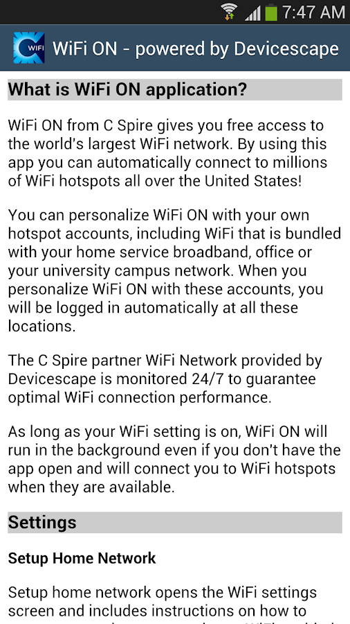 WiFi ON - screenshot