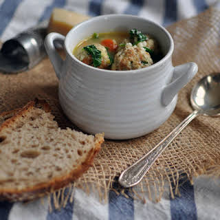 Chicken Meatball Minestrone with Ras El Hanout and Israeli Couscous.
