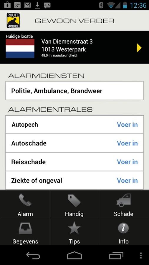 Pechhulp- screenshot