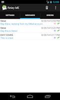 Screenshot of Relay ME, SMS via Email