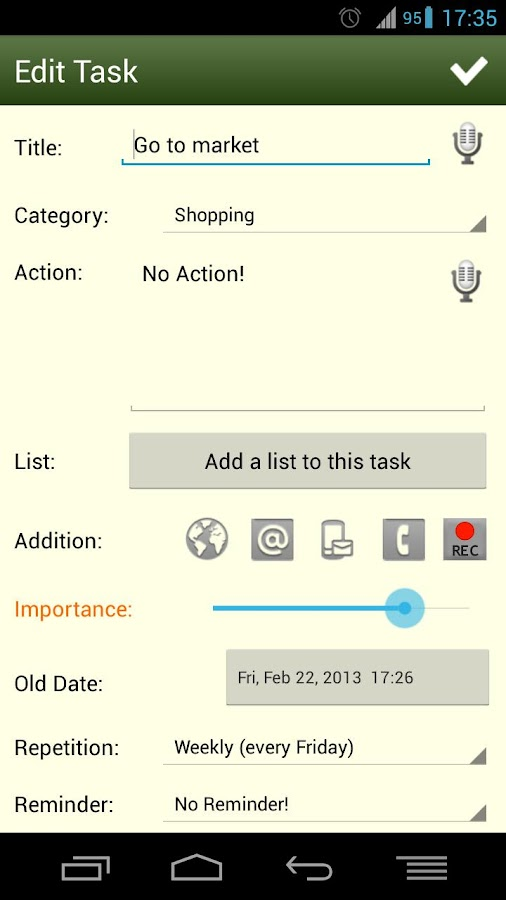 Task List - To Do list Widget - screenshot