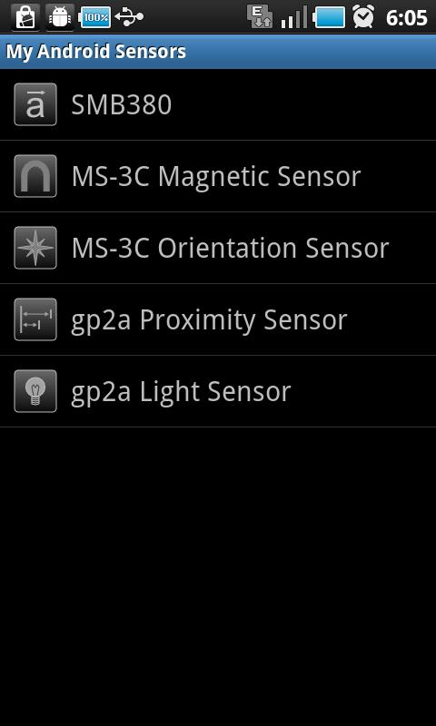 My Android Sensors- screenshot