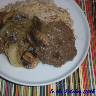 Hamburger Steak with Mushroom Onion Gravy.