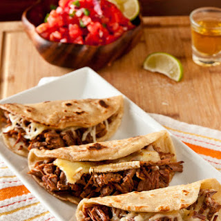 Brisket & Brie Quesadillas with Mango Barbecue Sauce