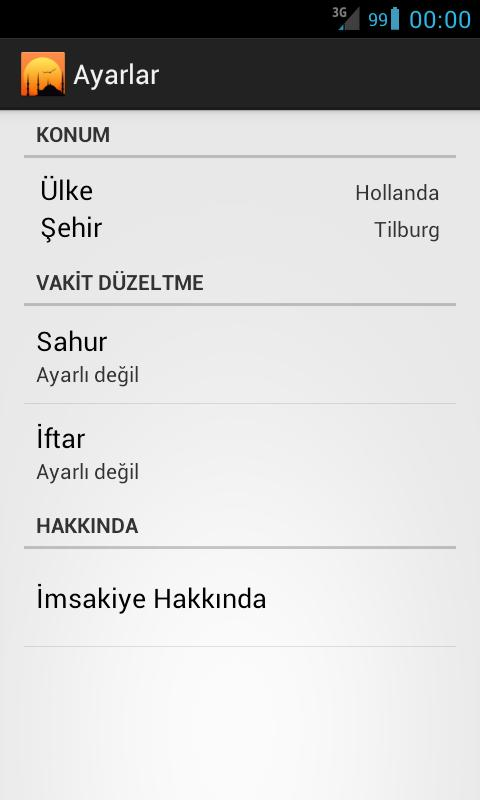 Imsakiye 2013 - screenshot