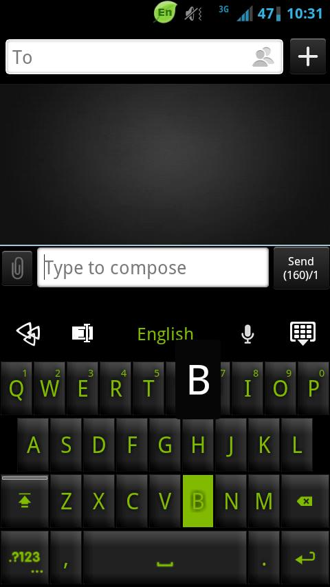 GO Keyboard Black Green Theme - screenshot