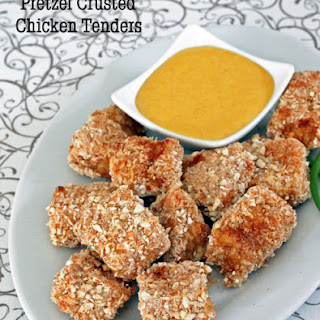 Pretzel Crusted Chicken Nuggets with Cheddar Dipping Sauce