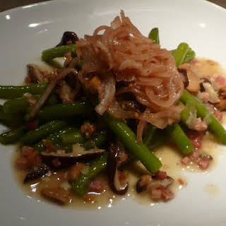 Panctta and Cider Vinegratte Green Beans with Pickled Onions.