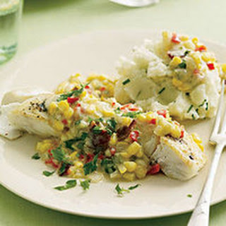 Halibut with Corn Gravy and Chive Mashed Potatoes.