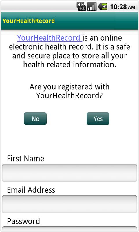 YourHealthRecord - screenshot