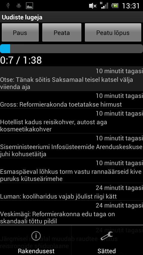 Uudiste lugeja- screenshot