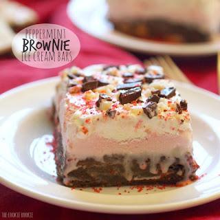 Peppermint Ice Cream Brownie Bars