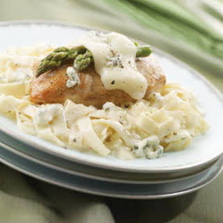 Chicken & Asparagus With Alfredo-blue Cheese Pasta.