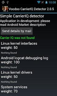 Voodoo Carrier IQ detector - screenshot thumbnail