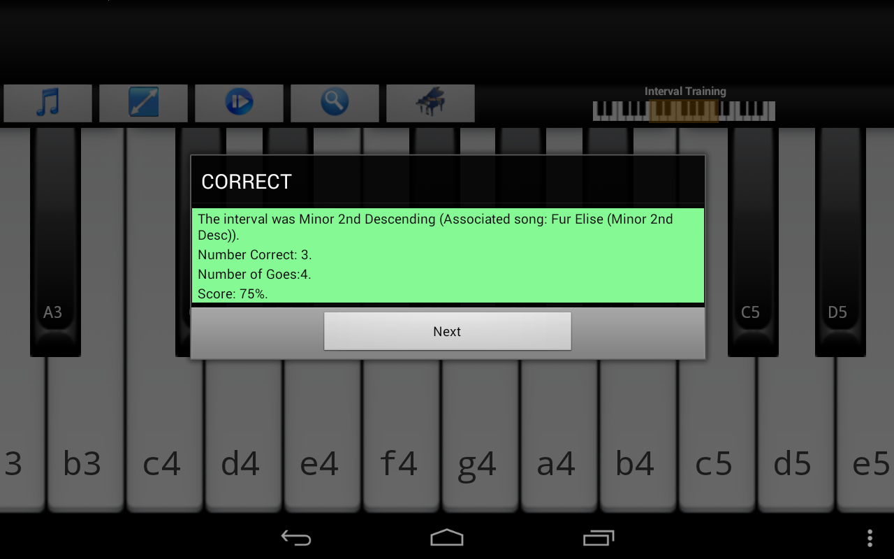Piano Interval Training - screenshot