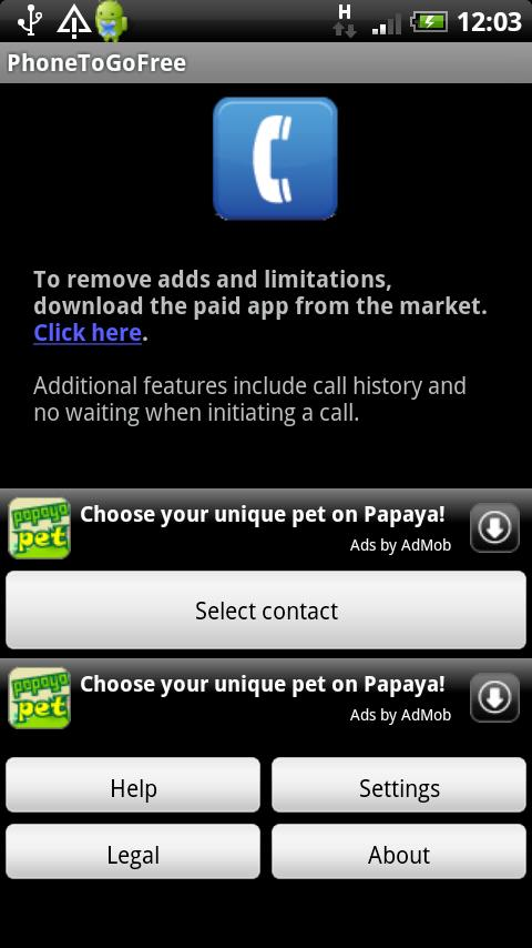 PhoneToGo Free - screenshot