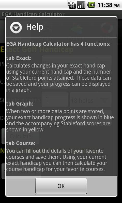 EGA Handicap Calculator Donate- screenshot