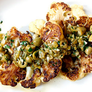 Cauliflower Steaks with Olive Pistou Recipe