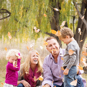 Fall Family Fun by Roberta Lott-Holmes - People Family ( family, fall, kids, leaves )