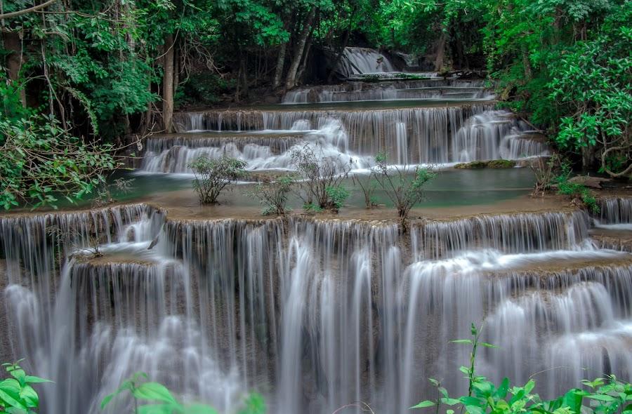 Wterfall morning by Ariya Namwong - Landscapes Waterscapes ( green, beautiful, waterfall, penny, morning )