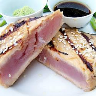 Sesame Encrusted Tuna with Sweet Soy Dipping Sauce.