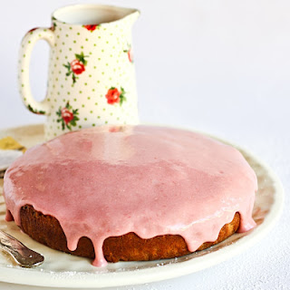 Earl Grey Cake with Rhubarb Cream Cheese Glaze