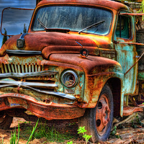 I'm Retired by Tom Reiman - Transportation Automobiles ( hdr, truck, flatbed, rusted,  )