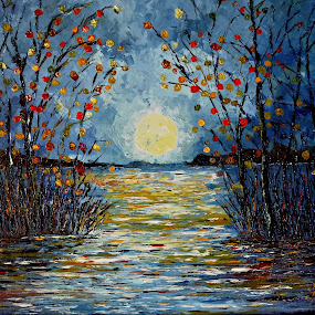 Autumn Dream by Amas Art - Painting All Painting ( moon, tree, autumn, blue, lake )