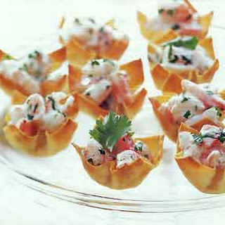 Mango-Curry Shrimp Salad in Wonton Cups.