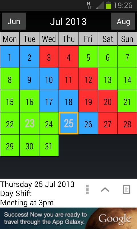 Shift Work Calendar - screenshot