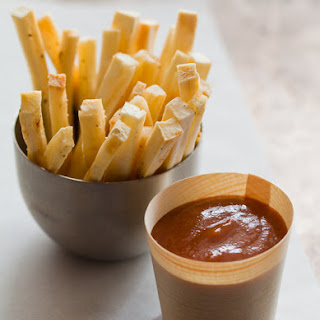 Baked Yucca Fries with Grilled Banana Ketchup.