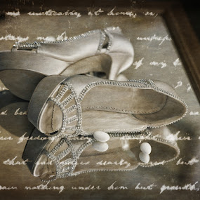Diamond bridal shoes by Sotiris  Filippou - Wedding Other ( person, fashion, clothing, bright, retro, beauty, pretty, people, glamour, love, married, girl, attractive, event, lovely, gown, bride, closeup, flower, decoration, beautiful, romantic, adult, marriage, human, luxury, bridal, female, dress, elegant, background, day, celebration, antique )