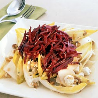 Pickled Beet and Endive Salad with Goat Cheese and Walnuts.