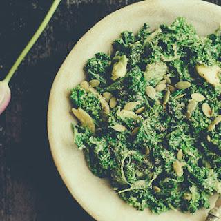Kale Salad with a Sweet Tahini Dressing.