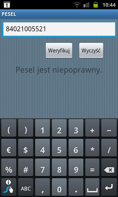 PESEL - screenshot