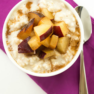 Overnight Chilled Plum-Oatmeal Pudding.