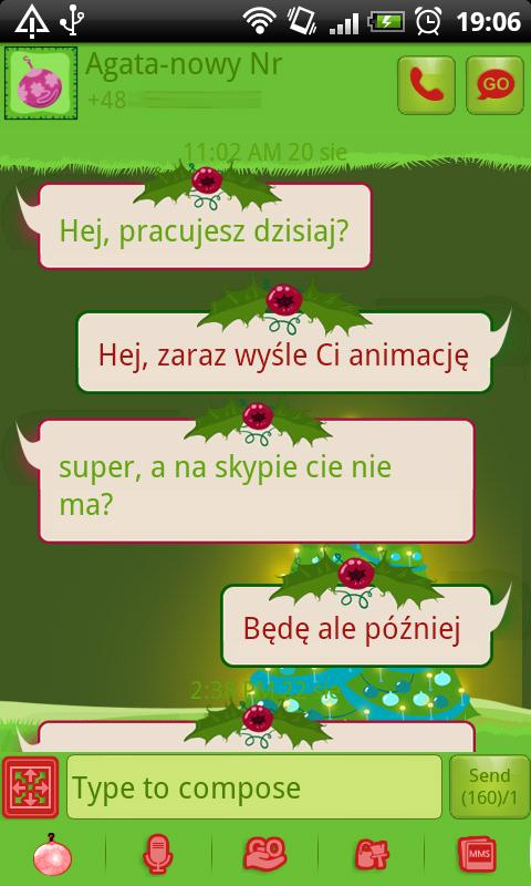 GO SMS Christmas Tree Theme - screenshot