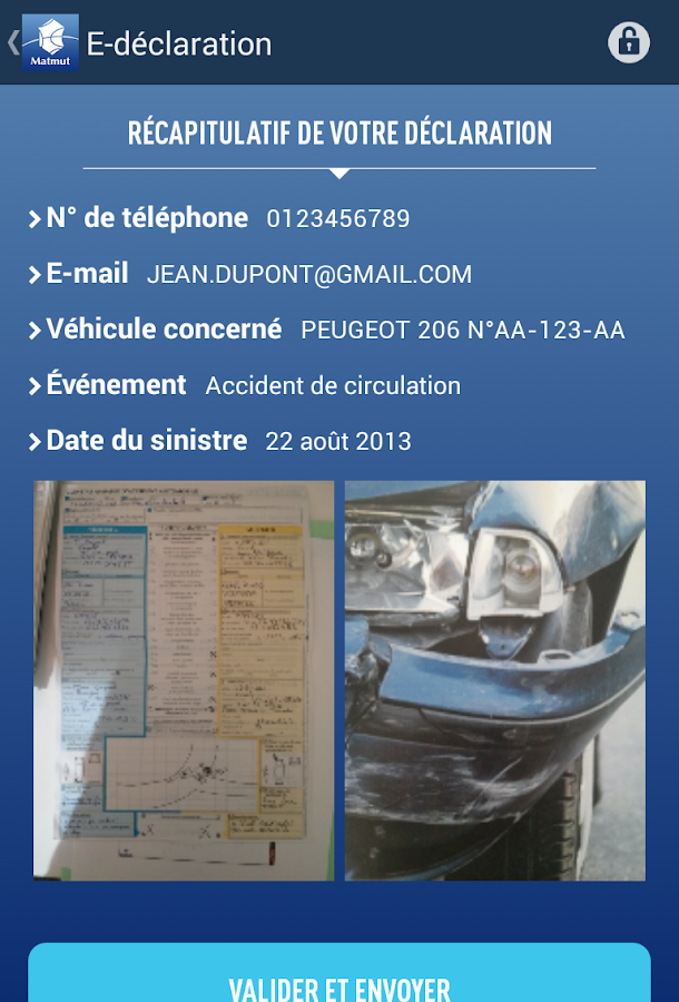 E-déclaration Matmut- screenshot