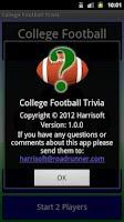Screenshot of College Football Trivia