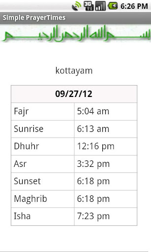 Simple Prayer Times