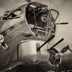 Vintage B-17  by Kyle Kephart - Black & White Abstract