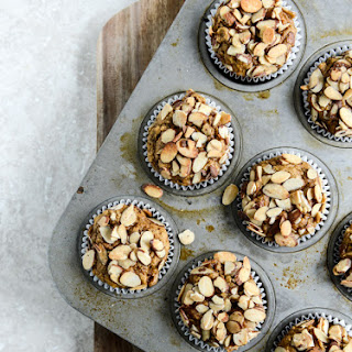 Whole Wheat Toasted Almond Pumpkin Muffins.