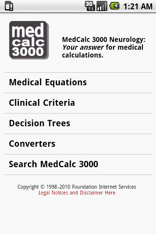 MedCalc 3000 Neurology - screenshot