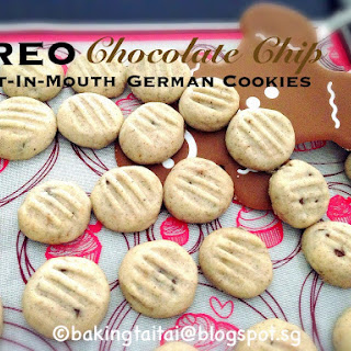 Melt-In-Mouth Oreo Chocolate Chip German Cookies  入口即化奥利奥巧克力豆德国酥饼 (中英食谱教程)