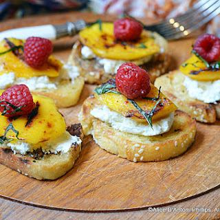 Grilled Mango & Raspberry Mint Crostini.
