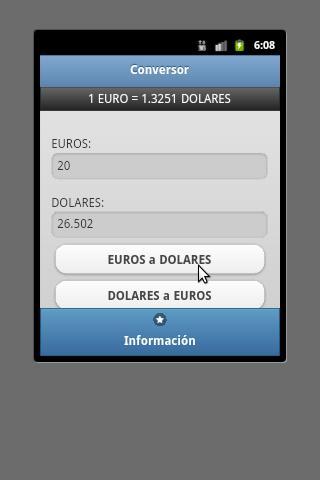Conversor Euro Dolar- screenshot