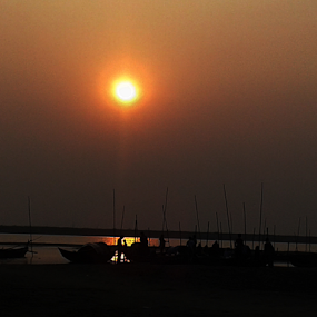 Sunset On Padma River by Arif Hossain - Landscapes Sunsets & Sunrises ( sunset on padma river, sunset, padma, boat, river )