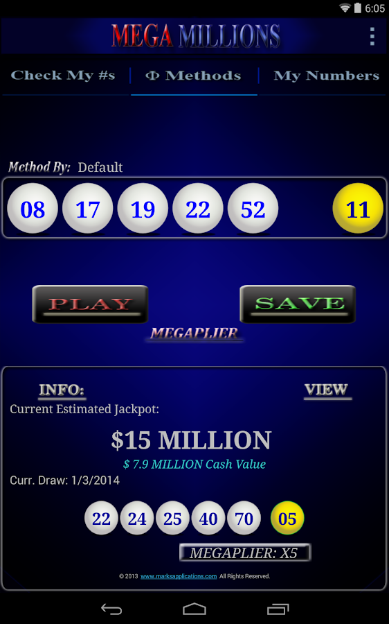 Mega Millions APP - screenshot