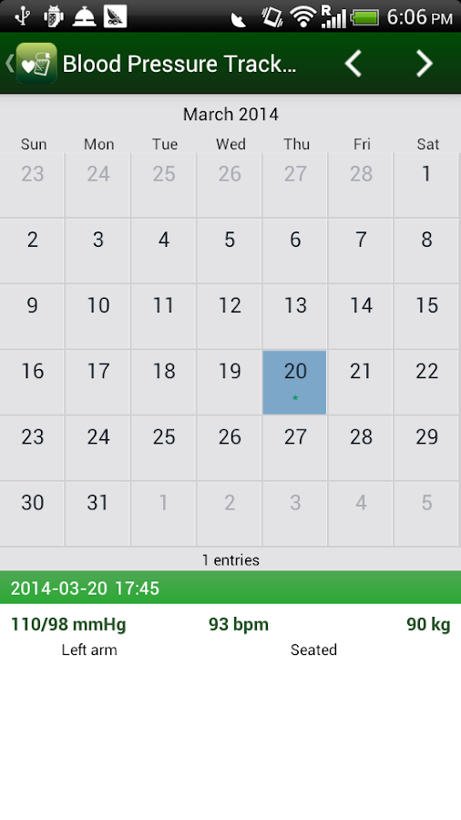 Blood Pressure Tracker - screenshot