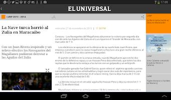 Screenshot of El Universal for tablet